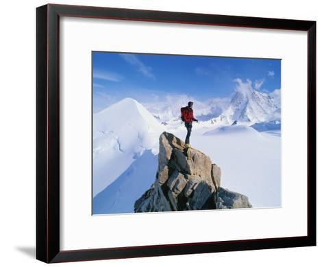 A Mountain Climber Summits Mount Bearskin-Gordon Wiltsie-Framed Art Print