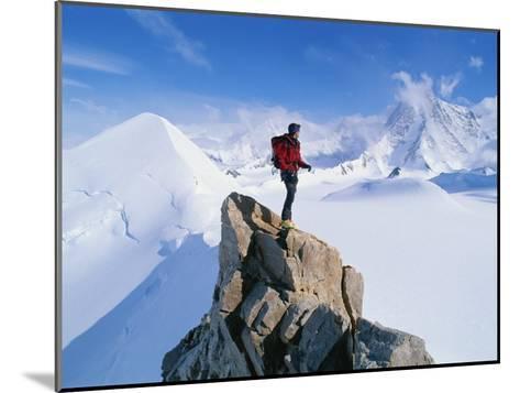A Mountain Climber Summits Mount Bearskin-Gordon Wiltsie-Mounted Photographic Print