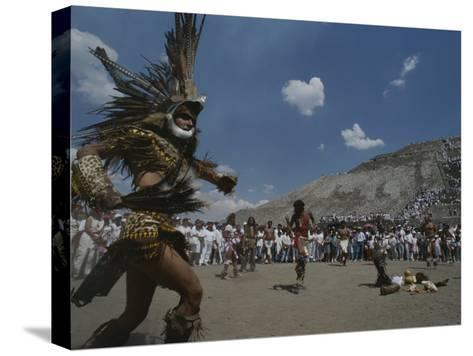 Traditional Dancing at the Pyramid of the Sun on the Spring Equinox-Kenneth Garrett-Stretched Canvas Print
