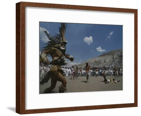 Traditional Dancing at the Pyramid of the Sun on the Spring Equinox-Kenneth Garrett-Framed Art Print
