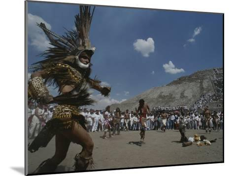Traditional Dancing at the Pyramid of the Sun on the Spring Equinox-Kenneth Garrett-Mounted Photographic Print