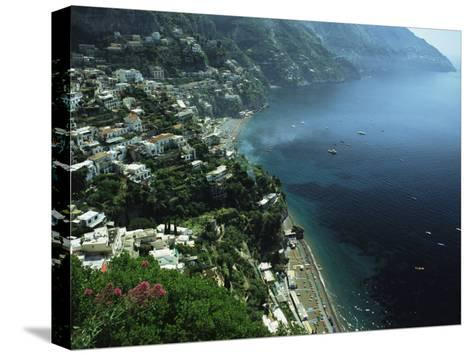 An Aerial View of Hillside Villages on the Water at Positano-Ed George-Stretched Canvas Print