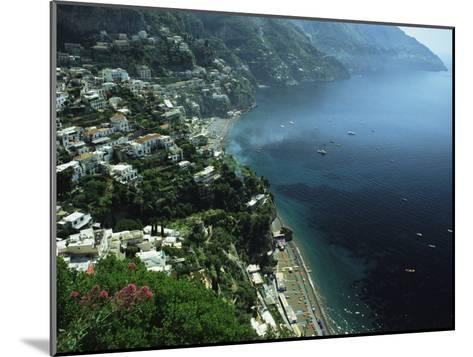 An Aerial View of Hillside Villages on the Water at Positano-Ed George-Mounted Photographic Print