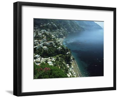 An Aerial View of Hillside Villages on the Water at Positano-Ed George-Framed Art Print