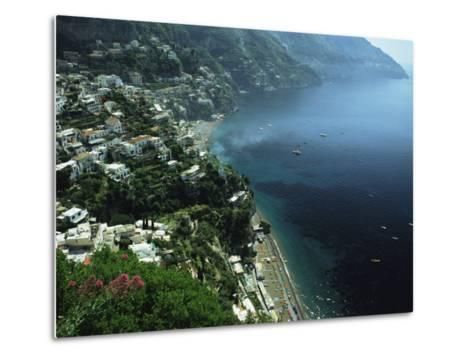 An Aerial View of Hillside Villages on the Water at Positano-Ed George-Metal Print