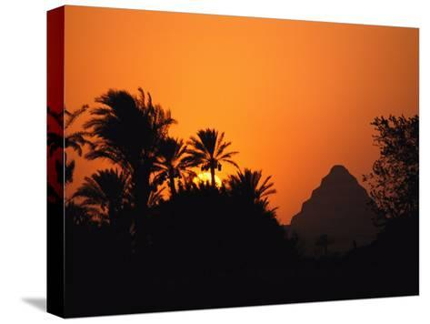 The Step Pyramid of Djoser Silhouetted by the Setting Sun-Kenneth Garrett-Stretched Canvas Print