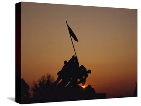 Silhouette of the Iwo Jima Monument at Twilight-Kenneth Garrett-Stretched Canvas Print