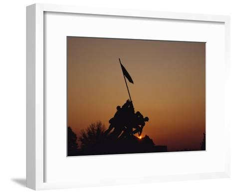 Silhouette of the Iwo Jima Monument at Twilight-Kenneth Garrett-Framed Art Print