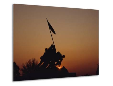 Silhouette of the Iwo Jima Monument at Twilight-Kenneth Garrett-Metal Print