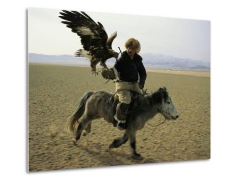 A Mongolian Eagle Hunter in Kazahkstan-Ed George-Metal Print