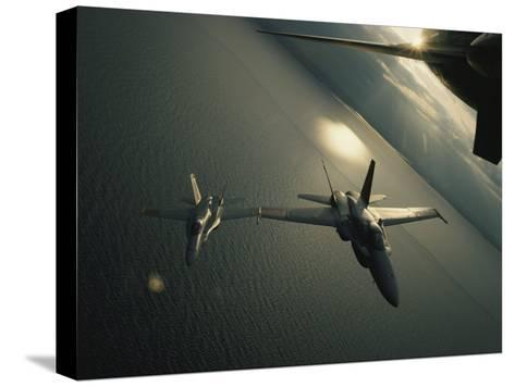 FA-18 Navy Jets in Flight over the Chesapeake Bay-Robert Madden-Stretched Canvas Print