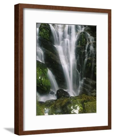 Small Waterfall Near the Milford Track on New Zealands South Island-Mark Cosslett-Framed Art Print