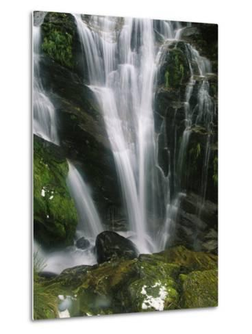 Small Waterfall Near the Milford Track on New Zealands South Island-Mark Cosslett-Metal Print