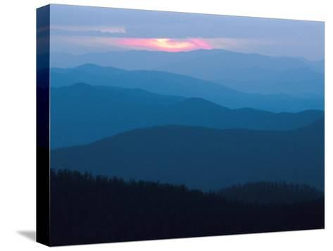 Twilight Covers the Ridges of the Blue Ridge Mountains-Raymond Gehman-Stretched Canvas Print