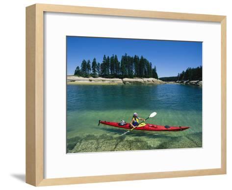 Woman Kayaks Through the Clear Water of Penobscot Bay, Maine-Skip Brown-Framed Art Print
