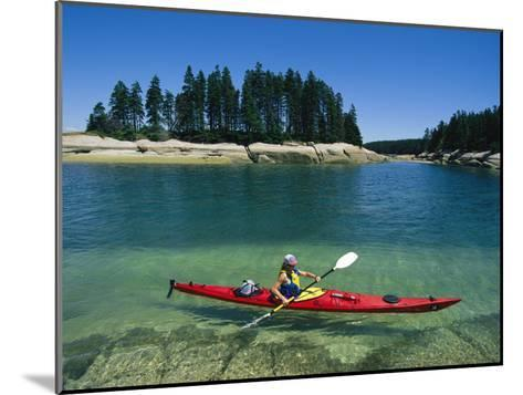 Woman Kayaks Through the Clear Water of Penobscot Bay, Maine-Skip Brown-Mounted Photographic Print