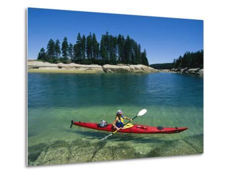 Woman Kayaks Through the Clear Water of Penobscot Bay, Maine-Skip Brown-Metal Print