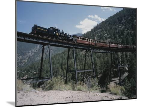 A Steam Engine Comes into the Silver Plume Station in Colorado-Taylor S^ Kennedy-Mounted Photographic Print