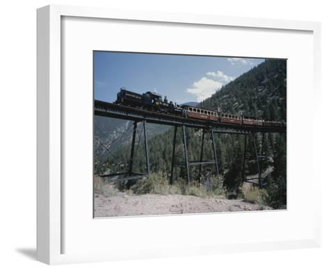 A Steam Engine Comes into the Silver Plume Station in Colorado-Taylor S^ Kennedy-Framed Art Print