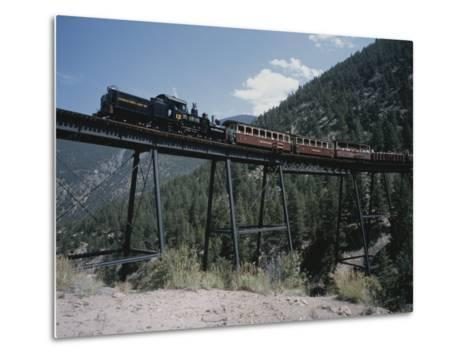 A Steam Engine Comes into the Silver Plume Station in Colorado-Taylor S^ Kennedy-Metal Print