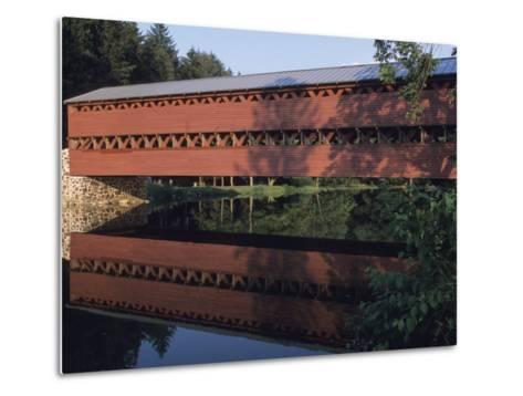 The Sachs Mill Bridge is Reflected in the Marsh River-Raymond Gehman-Metal Print