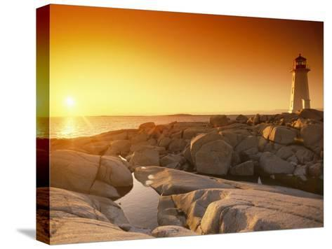 A Lighthouse at Sunset-Richard Nowitz-Stretched Canvas Print