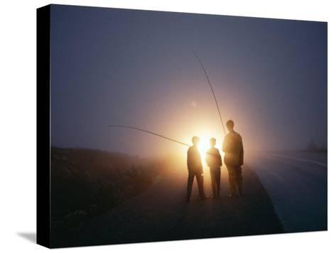 Three Men Walking Toward Their Car after a Day Spent Trout Fishing-Sam Abell-Stretched Canvas Print