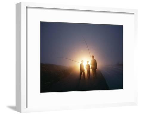 Three Men Walking Toward Their Car after a Day Spent Trout Fishing-Sam Abell-Framed Art Print
