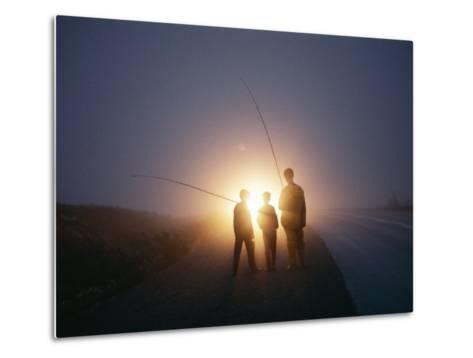Three Men Walking Toward Their Car after a Day Spent Trout Fishing-Sam Abell-Metal Print