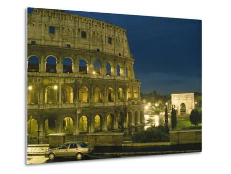 Romes Colosseum Illuminated at Night-Richard Nowitz-Metal Print