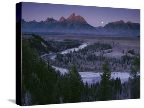 Dawn Strikes the High Ridge of the Teton Range-Raymond Gehman-Stretched Canvas Print