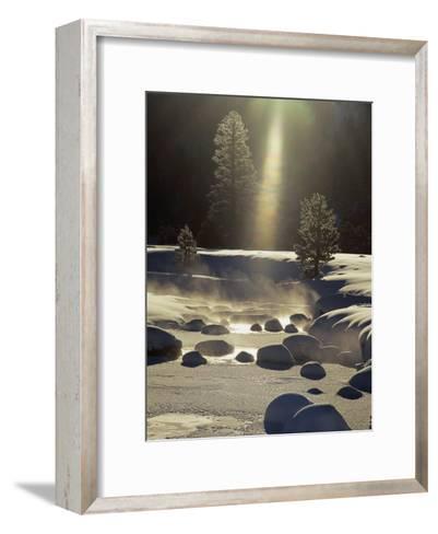 Steam Rises off the Snow-Covered River-Phil Schermeister-Framed Art Print