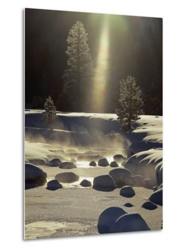 Steam Rises off the Snow-Covered River-Phil Schermeister-Metal Print