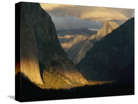 Sunlight Shines on Yosemite Valley-Phil Schermeister-Stretched Canvas Print