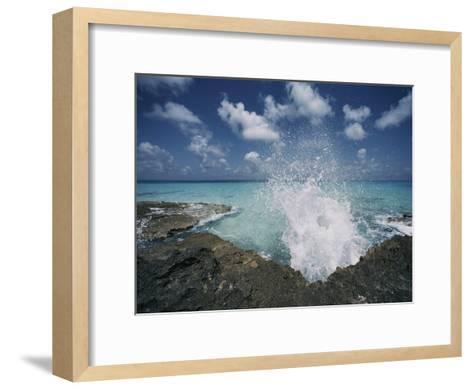 A Spray of Water Upon a Rocky Coast-Kenneth Garrett-Framed Art Print