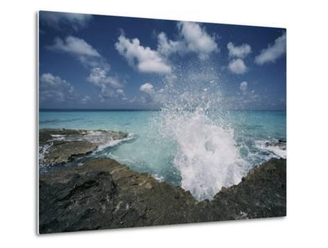 A Spray of Water Upon a Rocky Coast-Kenneth Garrett-Metal Print