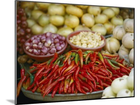 Close View of Chili Peppers and Other Vegetables at a Food Market-Steve Raymer-Mounted Photographic Print