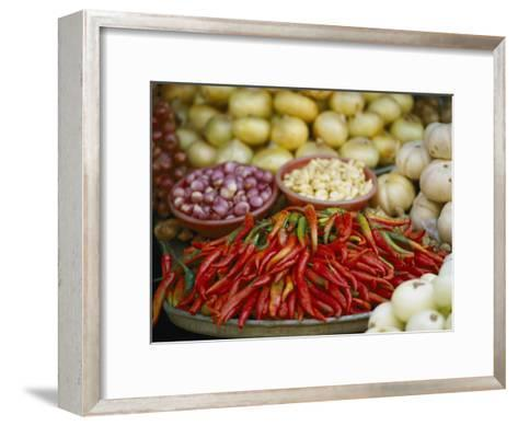 Close View of Chili Peppers and Other Vegetables at a Food Market-Steve Raymer-Framed Art Print