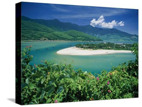 Elevated View of a Sandy Strip of Land with White Beaches and Emerald Waters-Steve Raymer-Stretched Canvas Print