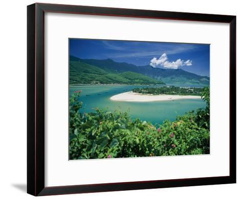 Elevated View of a Sandy Strip of Land with White Beaches and Emerald Waters-Steve Raymer-Framed Art Print