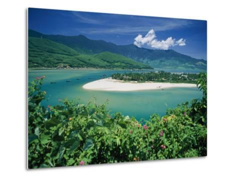 Elevated View of a Sandy Strip of Land with White Beaches and Emerald Waters-Steve Raymer-Metal Print
