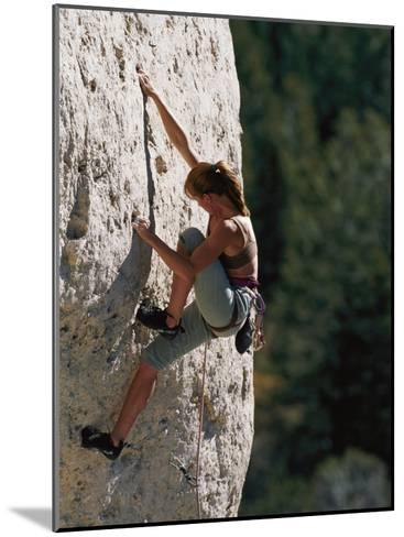 A Female Climber Searches for a Hold-Bobby Model-Mounted Photographic Print