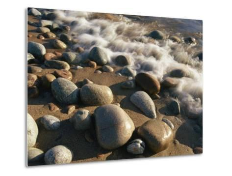 Water Washes up on Smooth Stones Lining a Beach-Michael S^ Lewis-Metal Print
