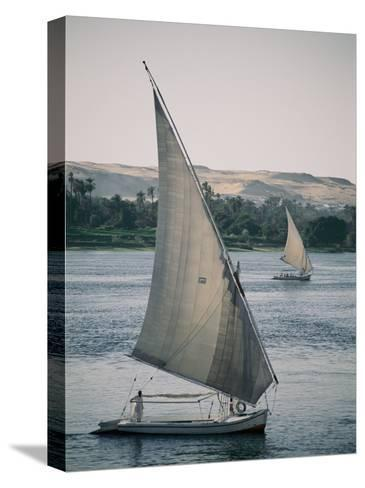 Twin Feluccas Move in Unison on the Nile Near Luxor-Stephen St^ John-Stretched Canvas Print