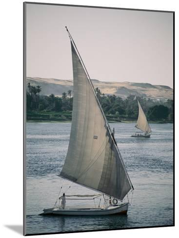 Twin Feluccas Move in Unison on the Nile Near Luxor-Stephen St^ John-Mounted Photographic Print