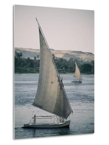 Twin Feluccas Move in Unison on the Nile Near Luxor-Stephen St^ John-Metal Print