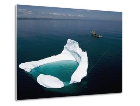 Towing an Iceberg Away from an Oil Platform-Randy Olson-Metal Print