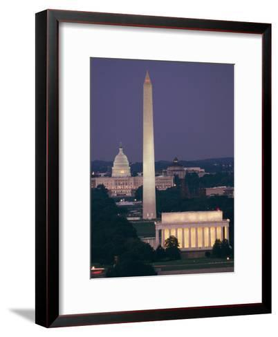 A Night View of the Lincoln Memorial, Washington Monument, and Capitol Building-Richard Nowitz-Framed Art Print