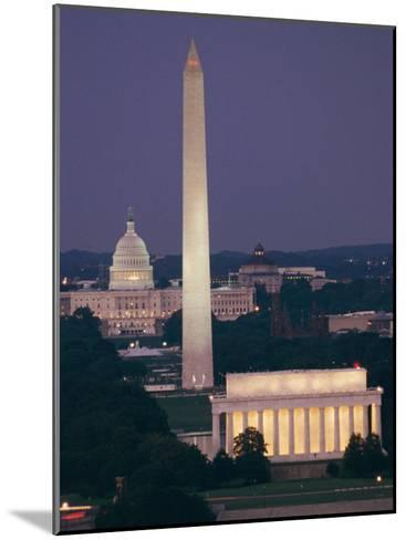 A Night View of the Lincoln Memorial, Washington Monument, and Capitol Building-Richard Nowitz-Mounted Photographic Print