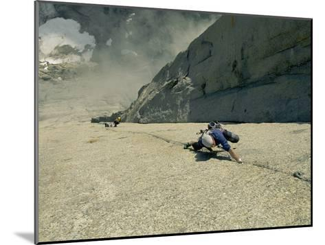 A Climber Negotiates the Second Pitch of Previously Unclimbed 3,600-Foot Granite Wall in Greenland-Bobby Model-Mounted Photographic Print